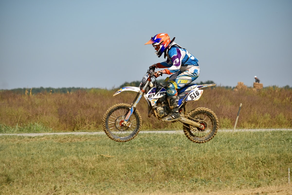 extreme, flight, jump, motocross, race way, racer, helmet, sport, fast, ride