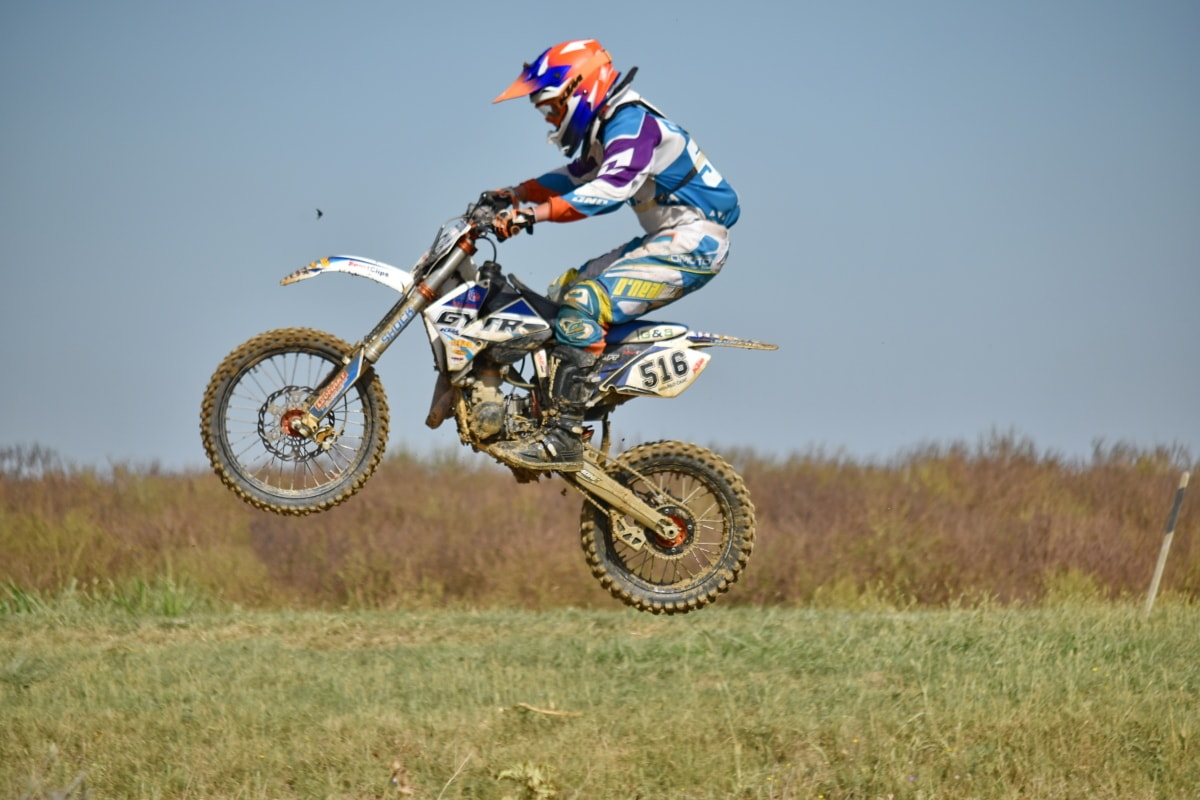 excitement, exhibition, jump, motocross, helmet, sport, cyclist, extreme, fast, ride