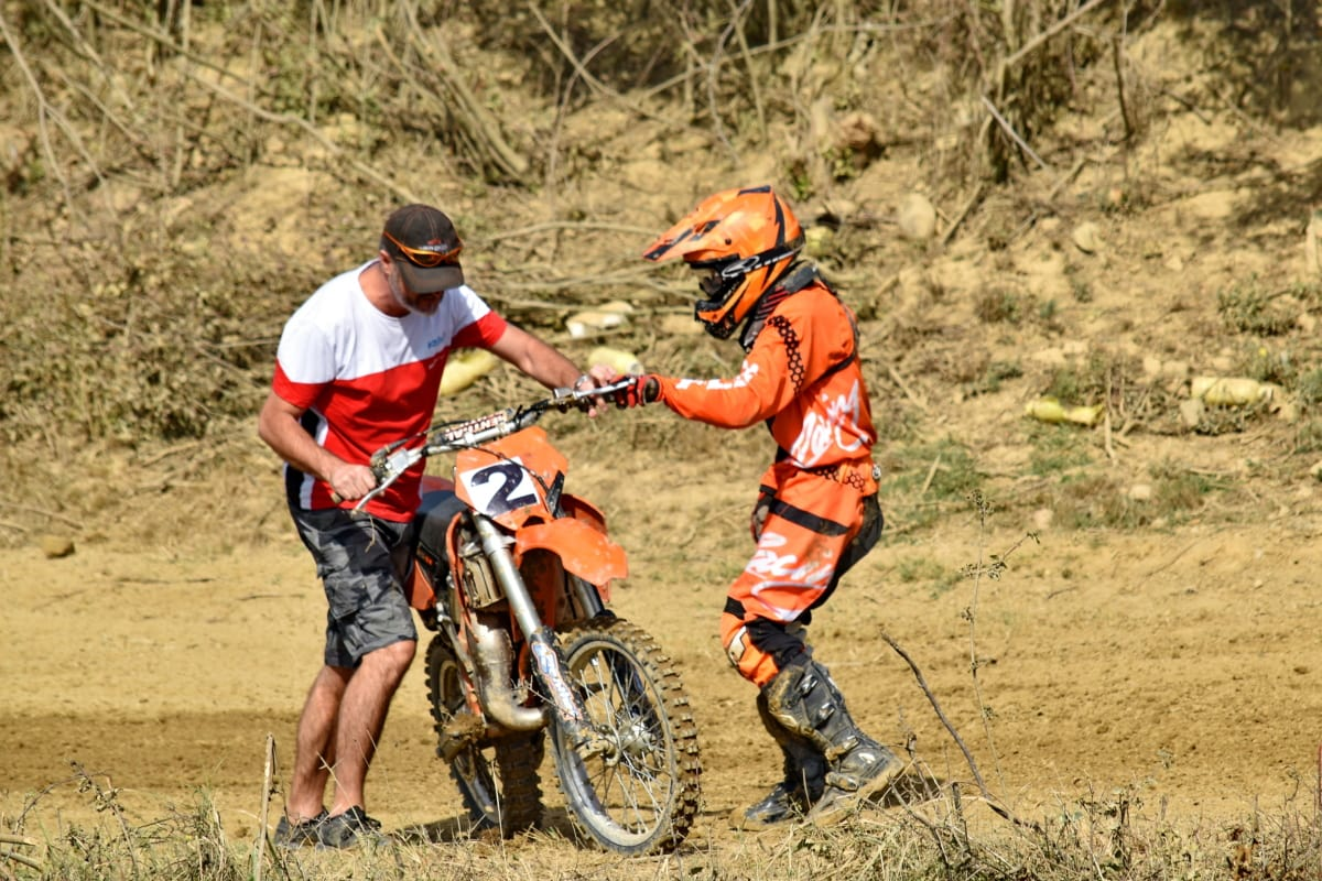 assistance, assistant, help, motocross, motorcycle, motorcyclist, people, sport, bike, outdoors
