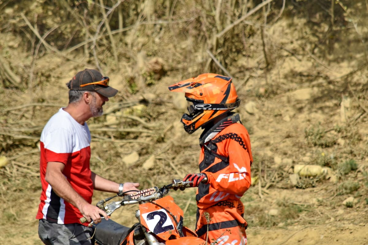 Kommunikation, Moto-Cross, Menschen, Seitenansicht, Trainer, Trainings-Programm, Mann, Abenteuer, Erholung, im freien