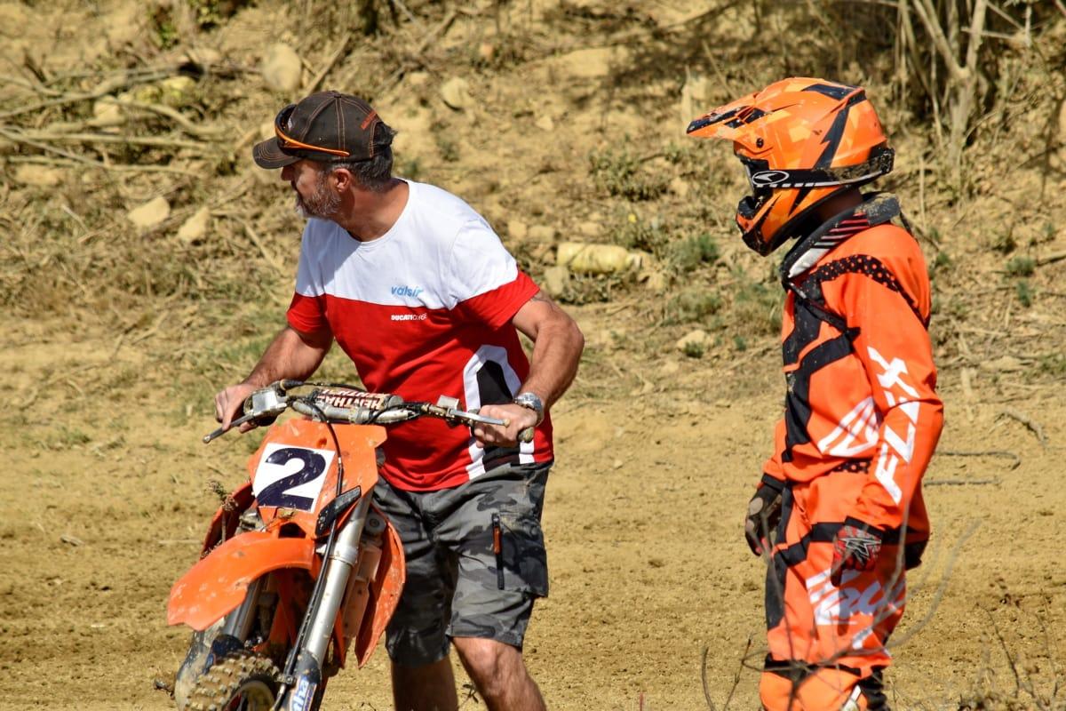 motocross, team, samarbeid, trener, treningsprogram, folk, kjøretøy, mann, sykkel, rase