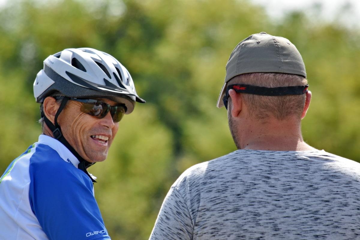 自行车, 竞争, 对话, 自行车, 脸, 幸福, 人, 微笑, 谈话, 运动员