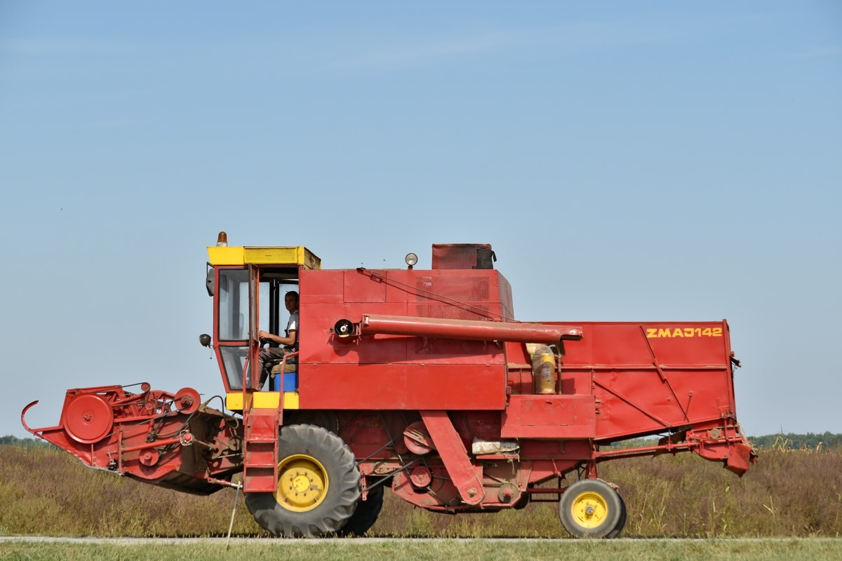 combine, countryside, farmer, harvestman, reddish, road, vehicle, harvester, agriculture, machine