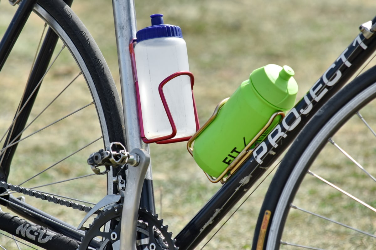 bottles, containers, drinking water, mountain bike, water, bicycle, seat, wheel, summer, outdoors