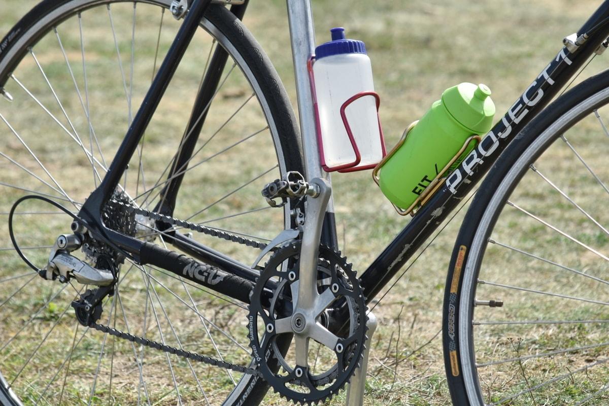 bicycle, bottled water, bottles, drinking water, mountain bike, wheel, bike, sport, chain, brake