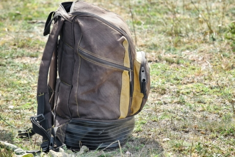 baggage, luggage, material, backpack, container, summer, grass, adventure, hiking, outdoors