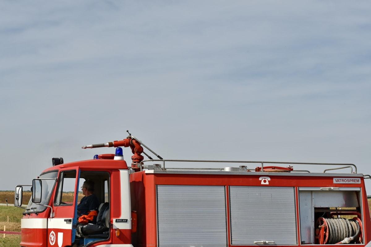 долг, Пожарный, грузовик, Пожарная машина, спасение, Чрезвычайная, промышленность, транспортное средство, на открытом воздухе, тяжелые