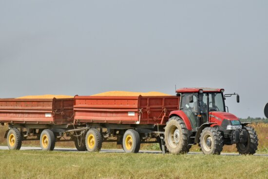 harvest, harvestman, tractor, trailer, machine, transportation, vehicle, agriculture, heavy, machinery