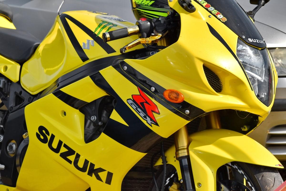 Japonês, moto, amarelo, veículo, rápido, corrida, pneu, passeio, clássico, cromado