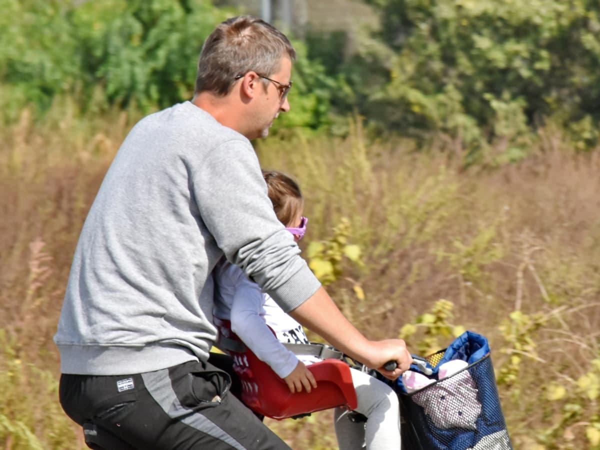 jízdní kolo, Dcera, rodina, otec, rekreace, relaxace, letní čas, venku, Příroda, volný čas