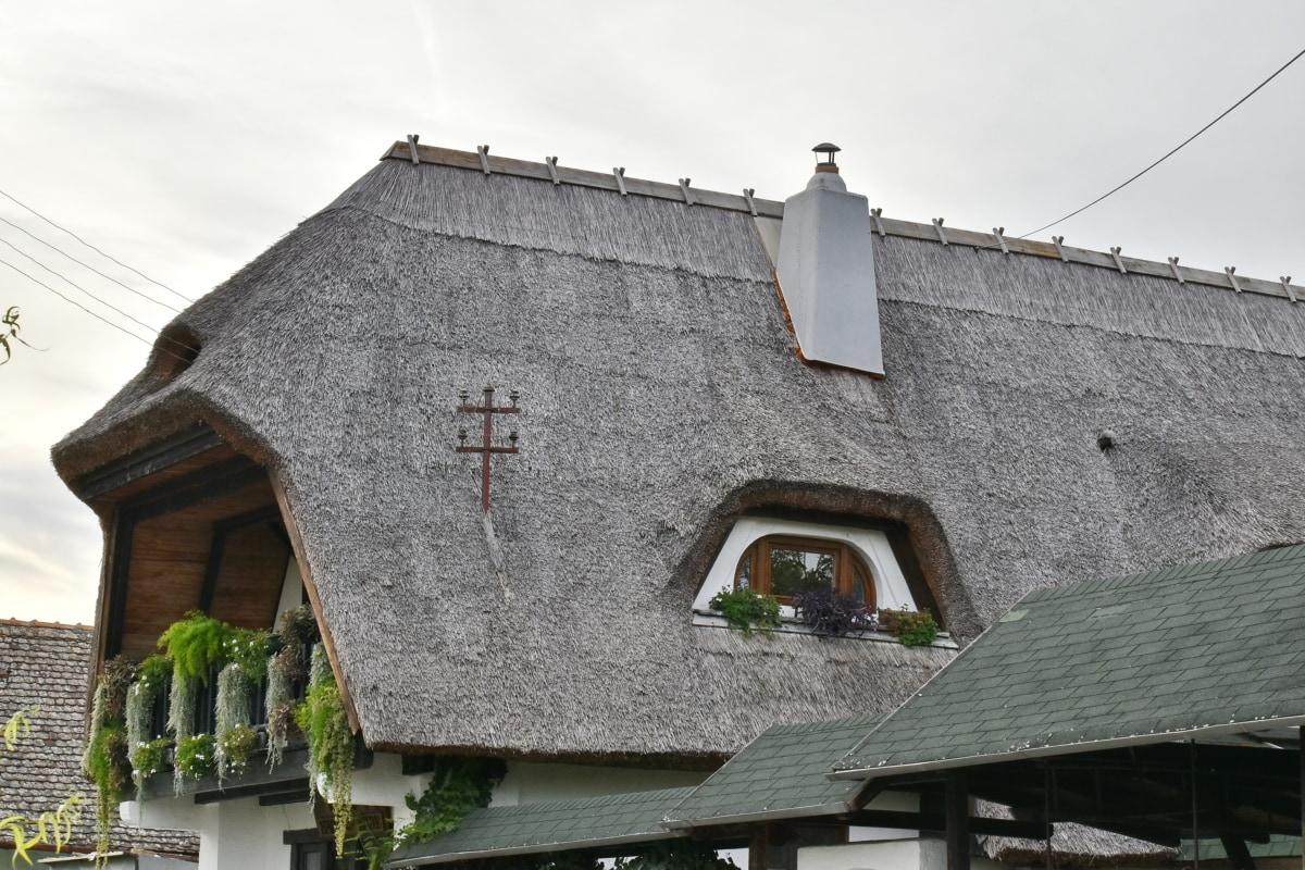 房子, 屋顶, 屋顶, 稻草, 传统, 村庄, 覆盖, 体系结构, 构建, 老