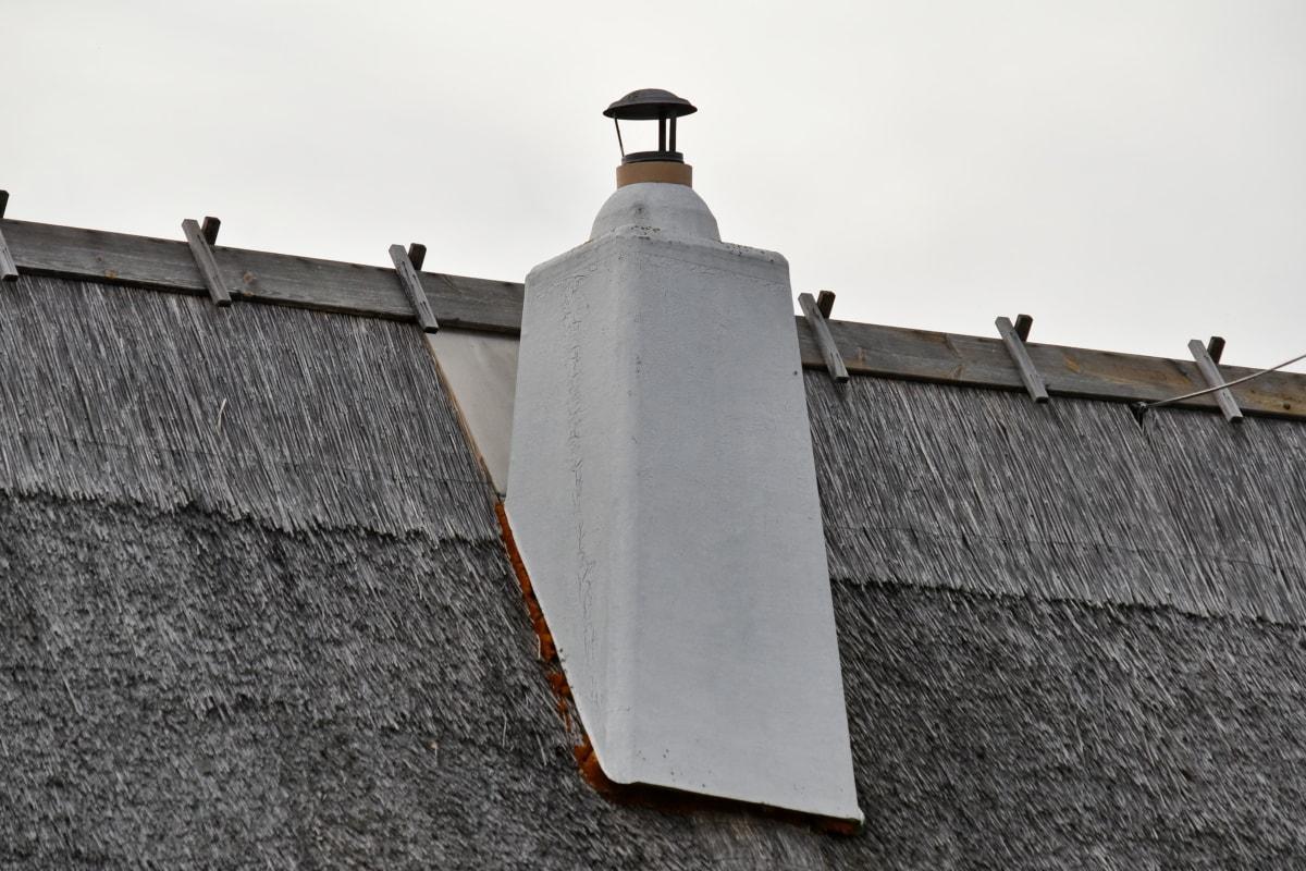 煙突, 古い, 屋上, わら, 伝統的です, 村, アーキテクチャ, 屋根ふき, 屋根, アウトドア
