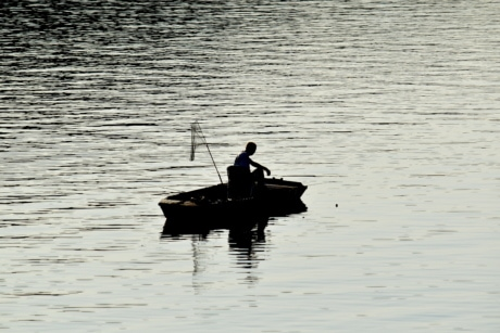 fishing boat, fishing gear, fishnet, shadow, silhouette, river, lake, device, water, fisherman