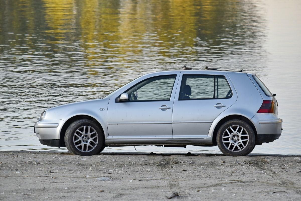 plaj, Araba, nehir kıyısı, yan görünüm, Otomobil, Lastik, sürücü, sedan araba, ulaşım, araç