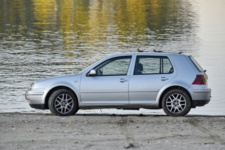 beach, car, riverbank, side view, automobile, tire, drive, sedan, transportation, vehicle