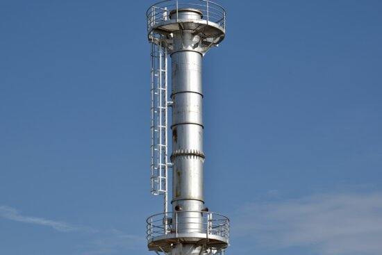 construction, factory, industrial, stainless steel, tower, workplace, high, steel, chimney, technology
