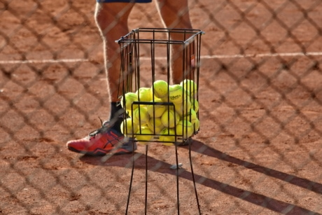 ball, equipment, tennis, tennis court, trainer, training program, leisure, ground, outdoors, recreation