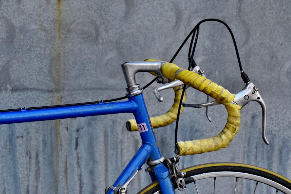 cykla, krom, nostalgi, gamla, rostfritt stål, ratt, kablar, cykel, säte, hjulet