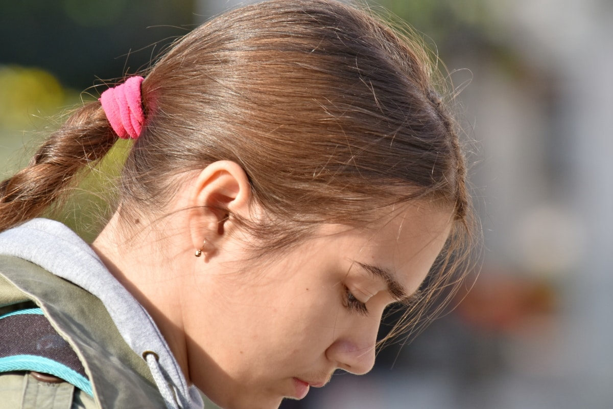 gorgeous, hairstyle, portrait, pretty girl, profile, side view, teenager, girl, hair, pretty