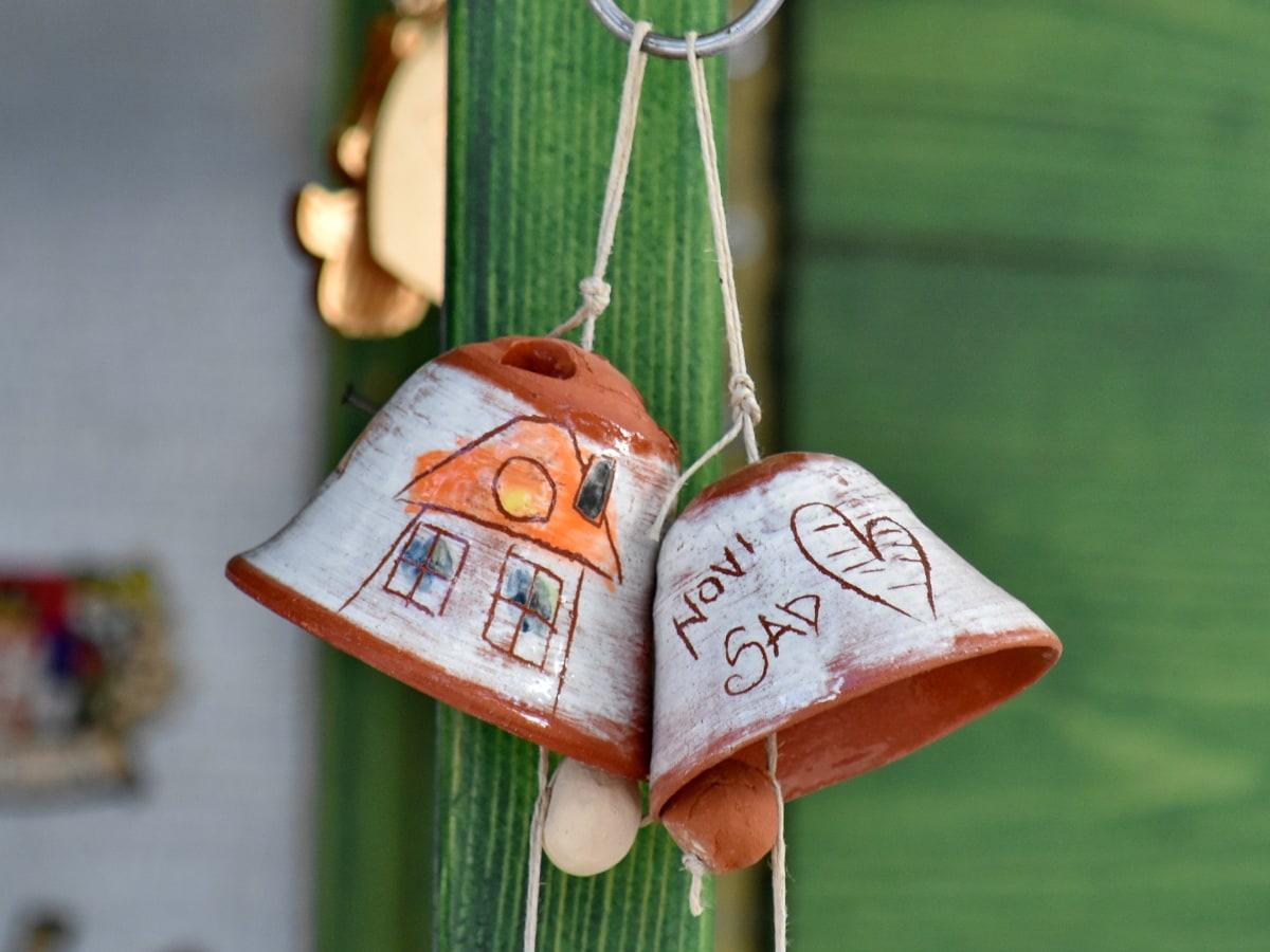 звънец, камбани, керамика, декорация, ръчно изработени, обект, висящи, традиционни, стар, на открито