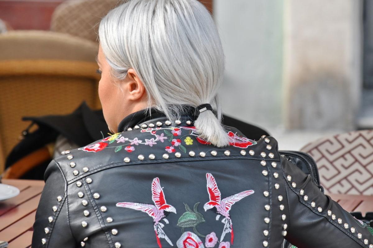blonde hair, fashion, handmade, jacket, leather, lifestyle, photo model, woman, traditional, street