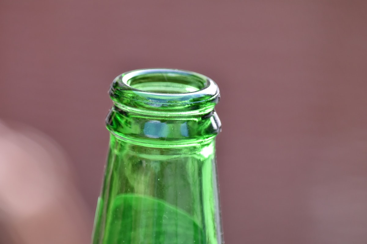 close-up, greenish yellow, top, glass, bottle, container, beer, beverage, still life, empty