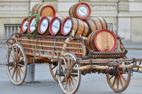 barrels, beer, carriage, decoration, festival, manifestation, urban area, vintage, vehicle, old