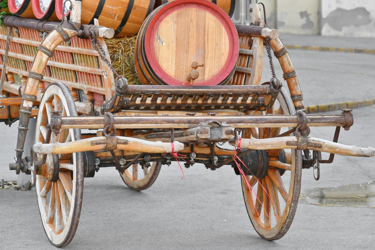 Fass, Fässer, Kutsche, handgefertigte, alt, Rad, Warenkorb, Fahrzeug, Retro, Jahrgang