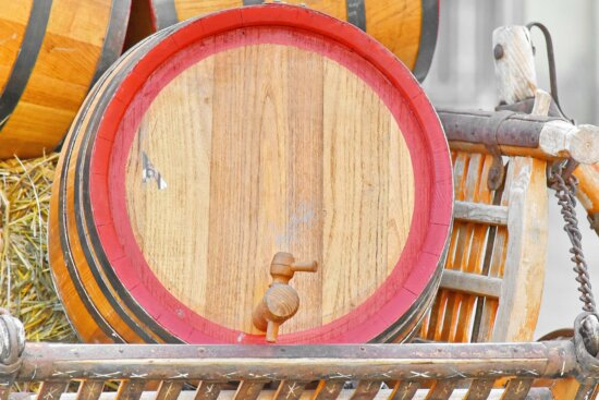antique, barrels, carriage, decoration, straw, wooden, container, wood, old, barrel