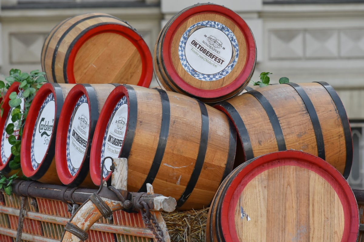 barrels, beer, carriage, decoration, festival, handmade, old, winery, wine, barrel