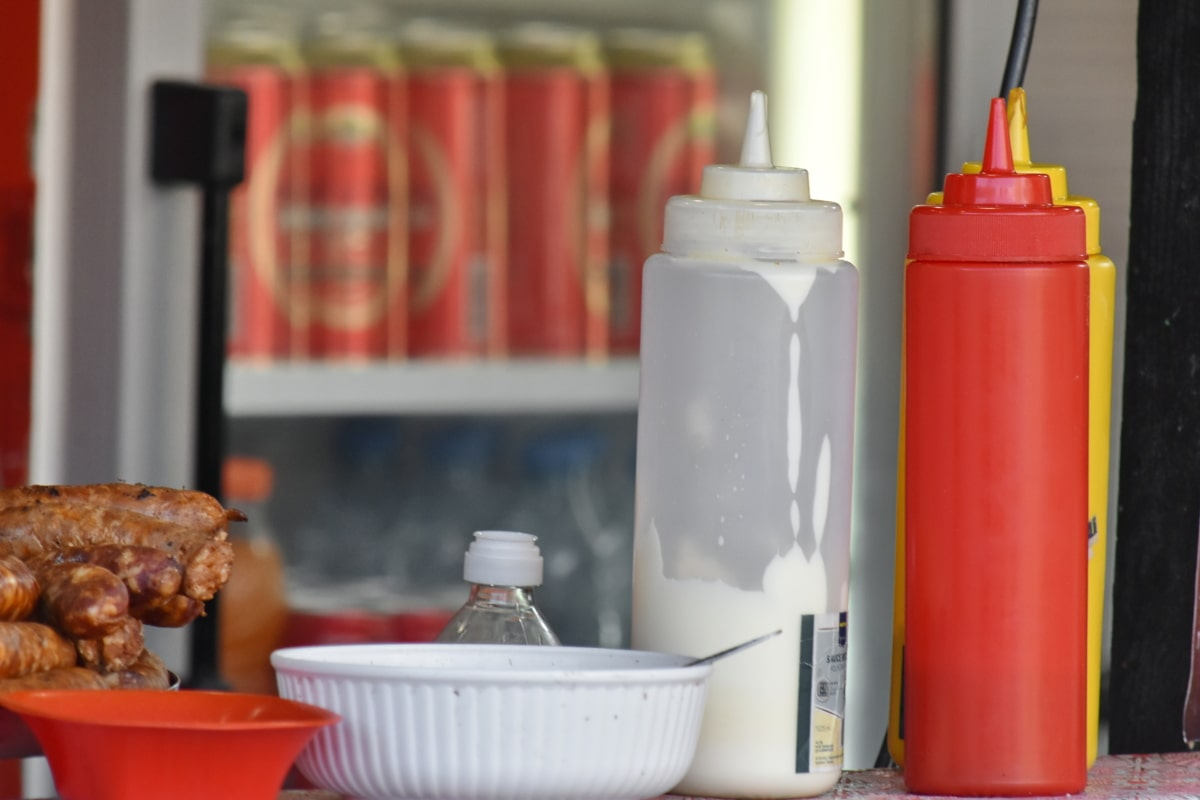 breakfast, fast food, sausage, spice, container, bottle, plastic, food, delicious, traditional