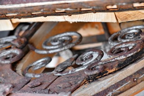 cast iron, decoration, fastener, handmade, old, wooden, wood, iron, industry, rust