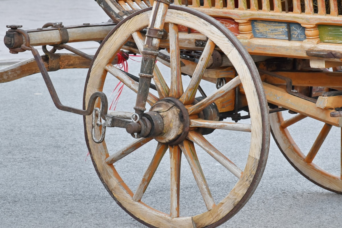 vogn, støpejern, håndverket, håndlaget, gamle, hjul, tre, retro, mekanisme, antikk