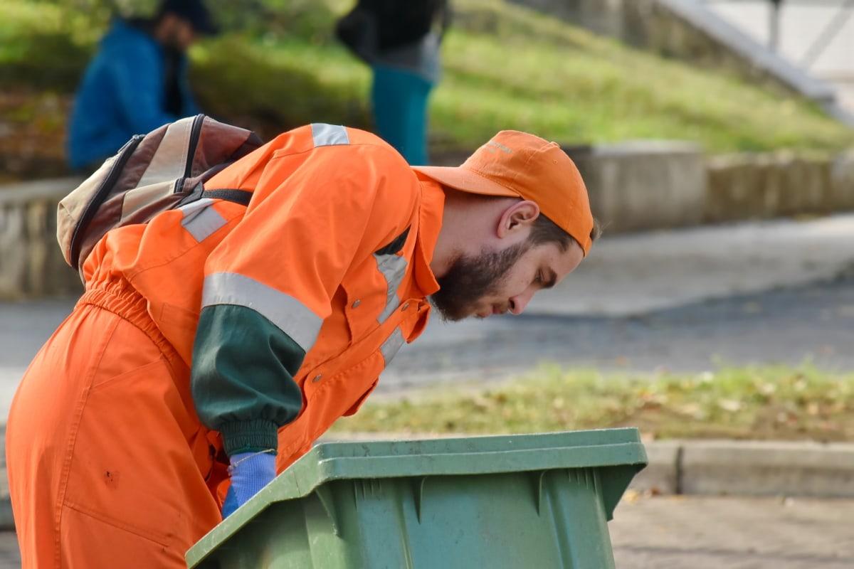 čistač, čišćenje, zaposlenika, smeće, odvoz smeća, posao, čovjek, profesionalno, uniforma, urbano područje
