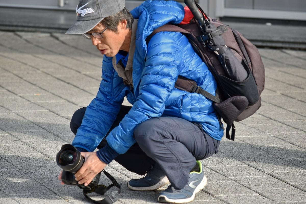 kut, kamera, oprema, naočale, ruke, leća, trotoar, perspektiva, fotograf, fotoreporter