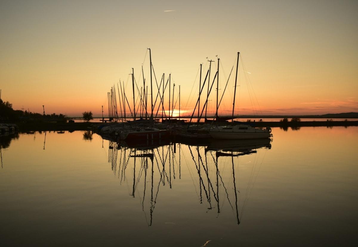 silhuet, bugt, smukke billede, refleksion, sejlbåd, solnedgang, Yacht club, lystbåde, vand, venesatama