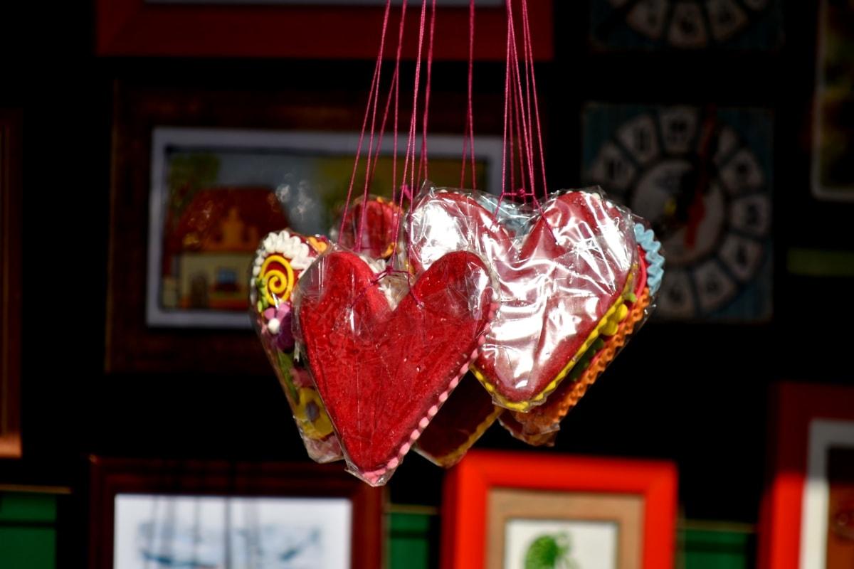 godteri, deilig, mat, håndlaget, hengende, hjerter, romantisk, romantikk, kjærlighet, hjerte