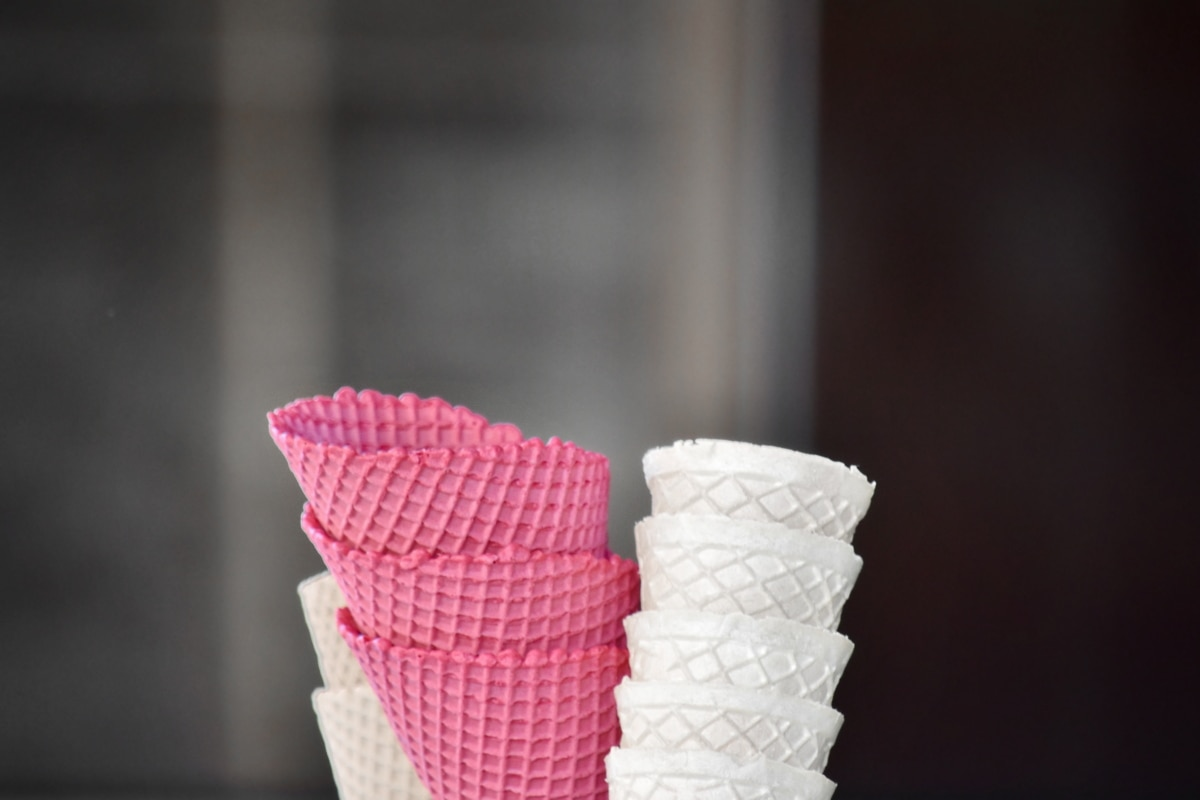confectionery, ice cream, pinkish, waffle, sugar, cream, cold, food, stacks, still life