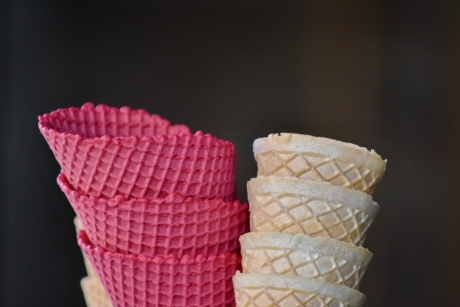 cone, ice cream, pinkish, waffle, yellowish brown, wafer, container, food, sweet, vanilla