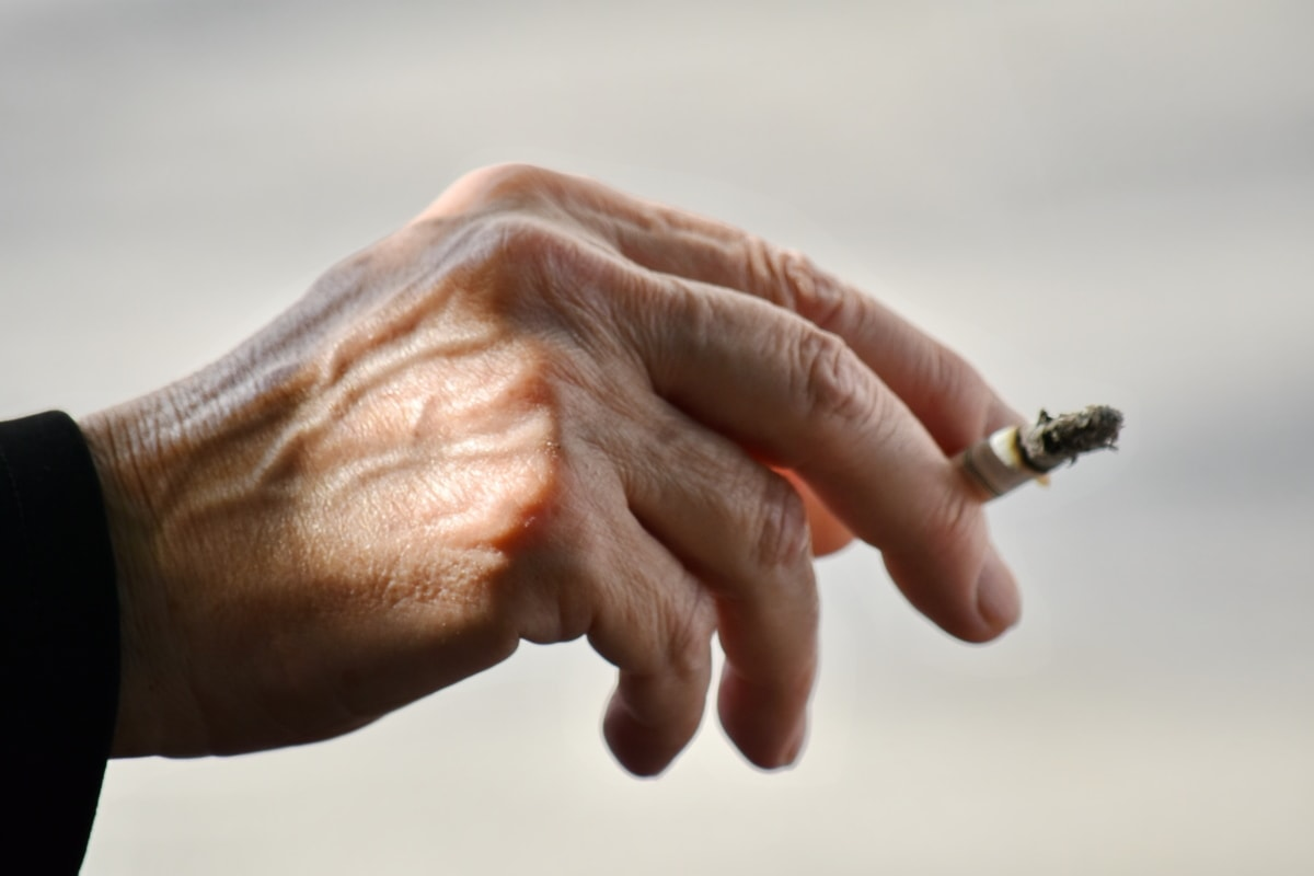 arthritis, cigarette, close-up, finger, hand, side view, skin, smoke, stress, hands