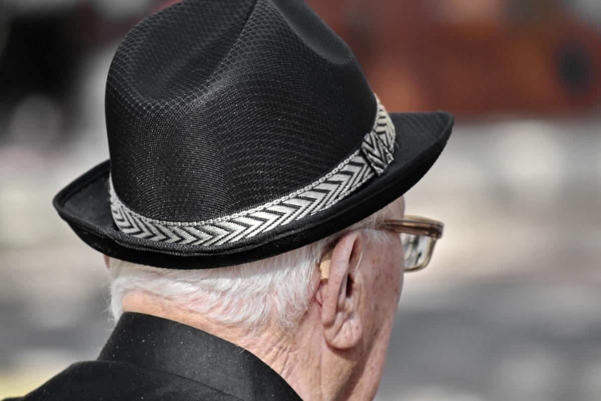 schwarz und weiß, Ohr, Brillen, Hut, Mann, Rentner, Senior, Kleidung, Menschen, Cowboy