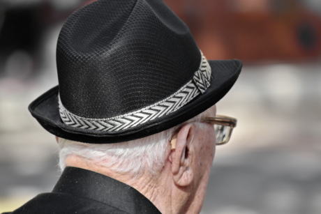black and white, ear, eyeglasses, hat, man, pensioner, senior, clothing, people, cowboy