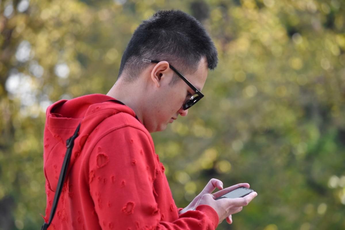 kinesisk, smuk, mobiltelefon, Portræt, sideudsigt, solbriller, unge, udendørs, folk, fritid