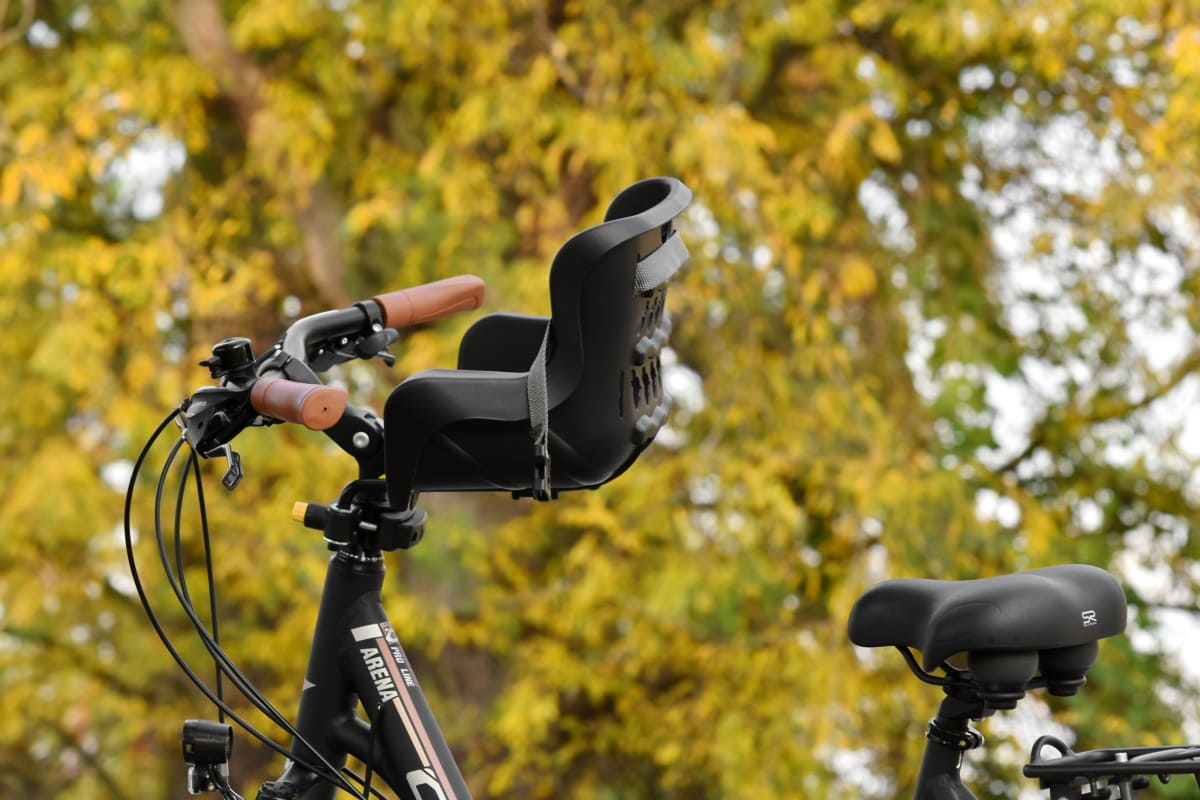 bicycle, seat, steering wheel, device, outdoors, equipment, park, nature, tree, object