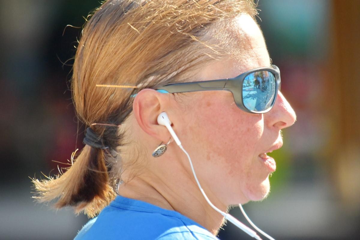 ear, earphones, pretty, reflection, side view, skin, sunglasses, woman, face, portrait