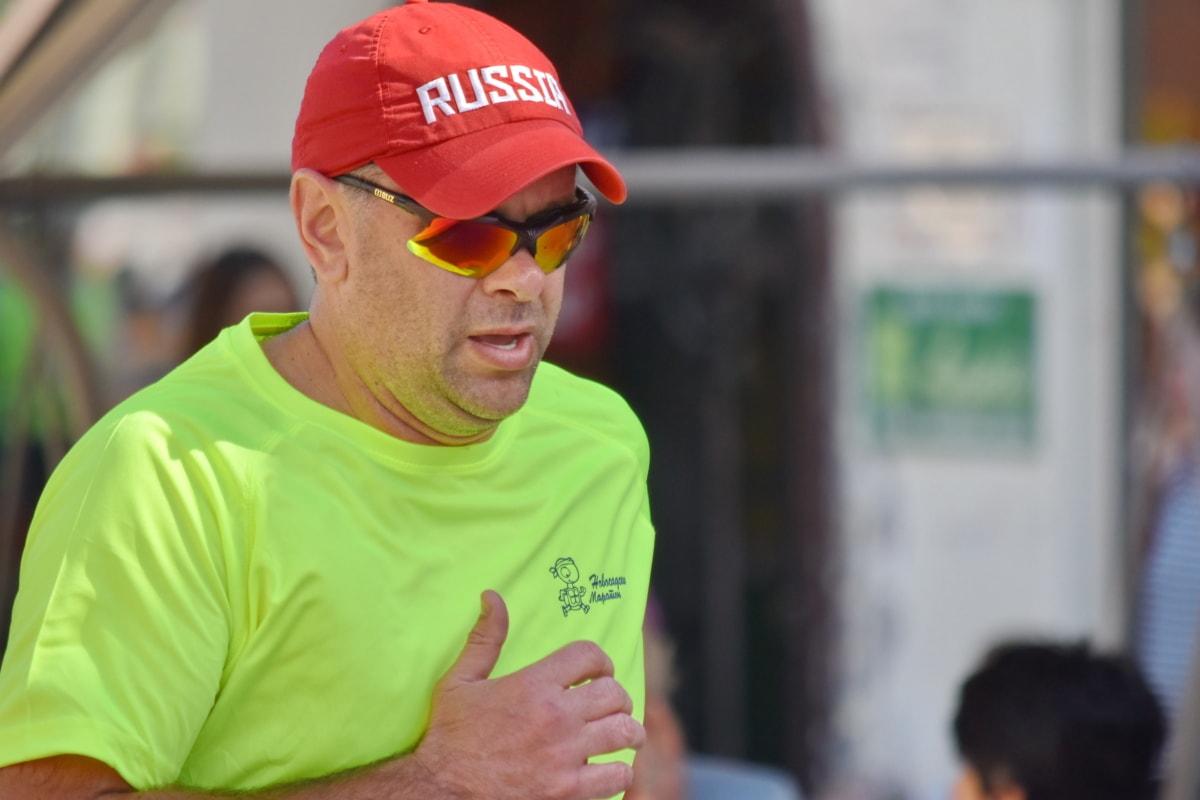 natjecanje, trka, čovjek, maraton, ruski, sa strane, sunčane naočale, odjeća, portret, ljudi