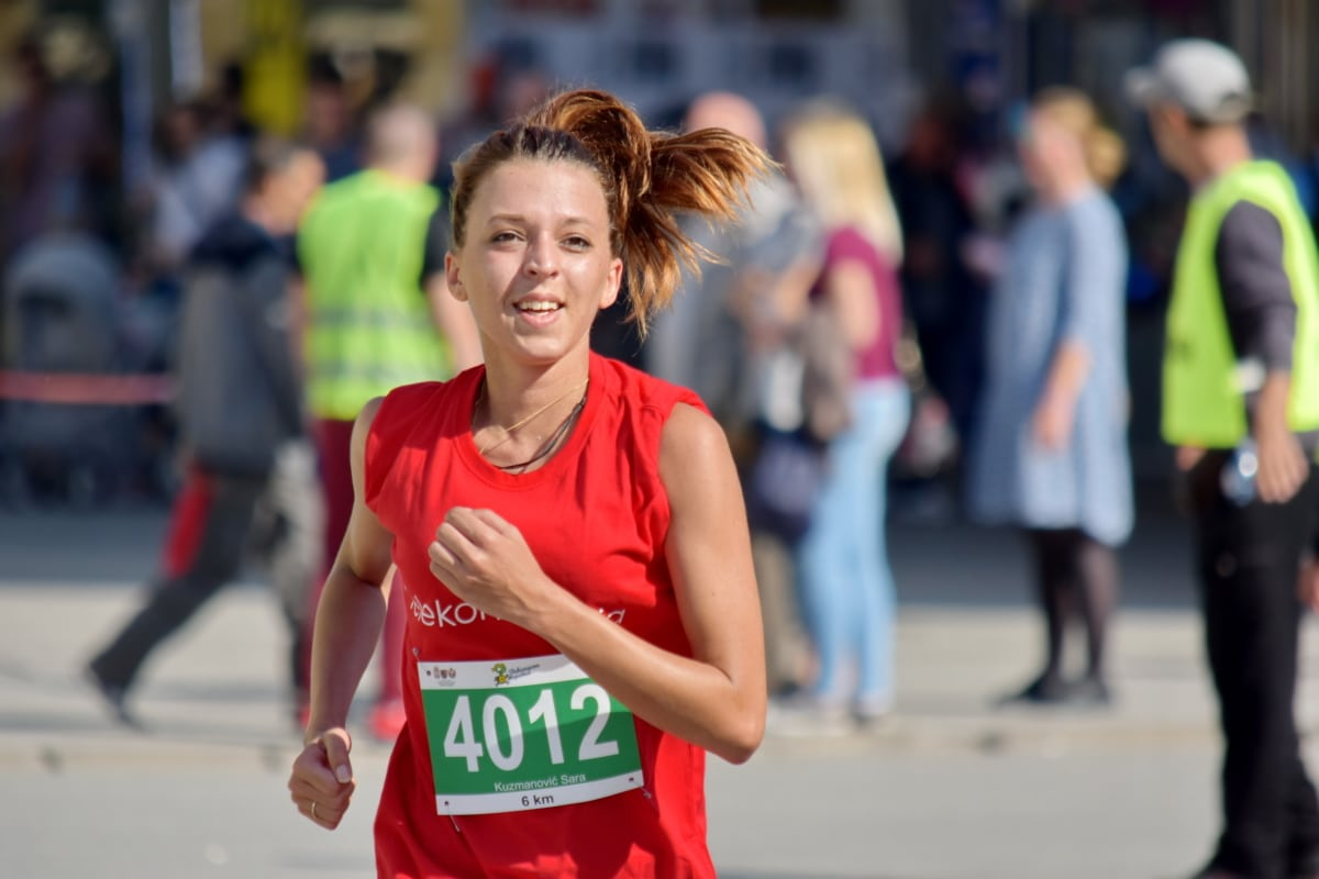 corrida, felicidade, maratona, mulher, ação, ativo, atleta, atraente, Alegre, cidade