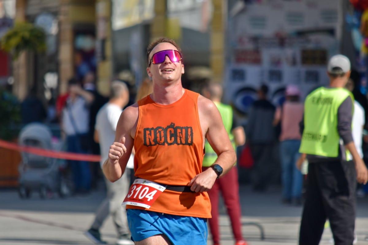 sportowiec, Mistrz, wytrzymałość, szczęście, mężczyzna, maraton, mięśni, uśmiech, Sport, Runner