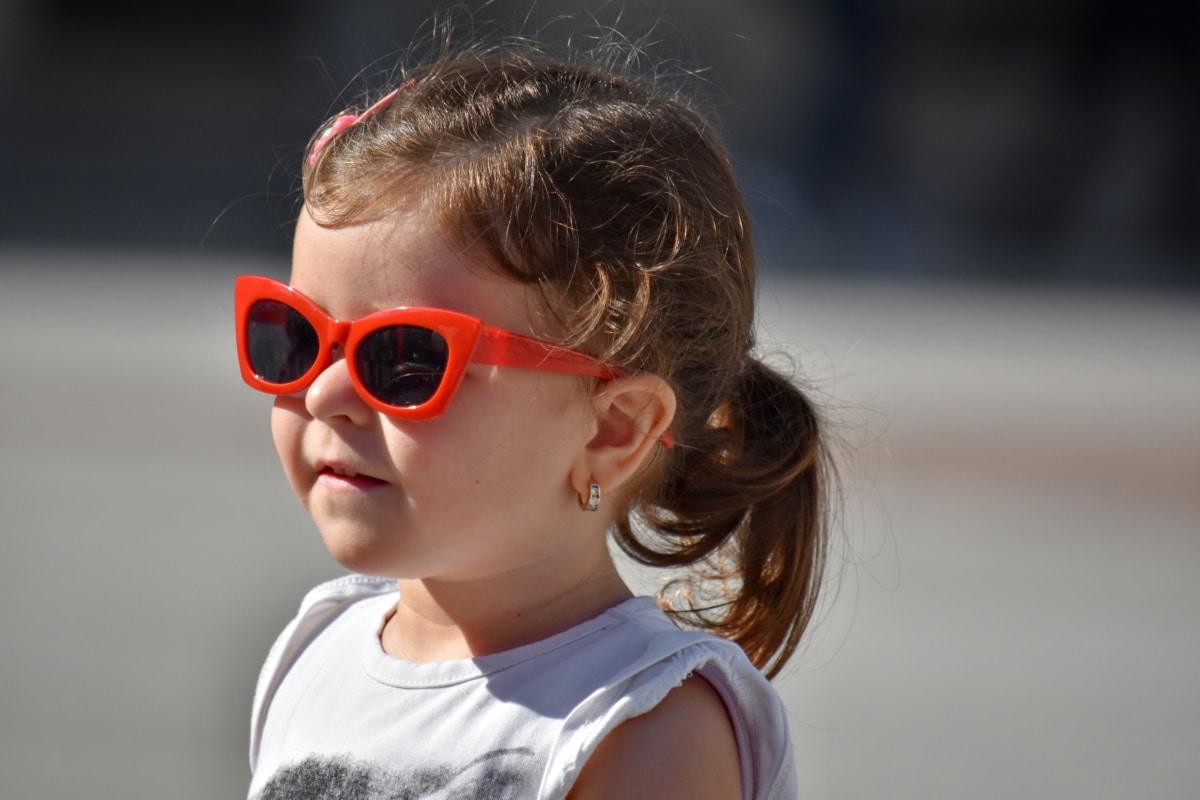 veselý, fotografie modelu, portrét, hezké děvče, dítě, ochranné brýle, fajn, sluneční brýle, brýle, oko