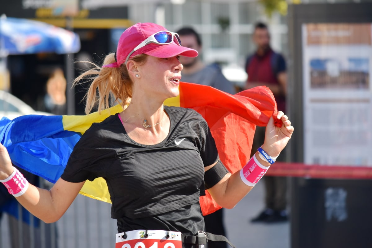 celebración, campeón, alegre, Bandera, felicidad, orgullo, persona, deporte, competencia, Maratón